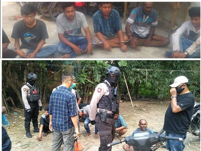 Polrestabes Medan GKN Bersama Polres Sunggal, 7 Pemakai Sabu dan Ganja Diamankan