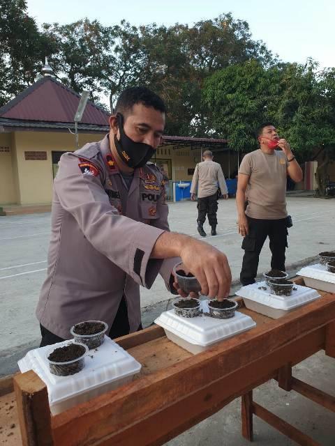 Kapolsek Medan Helvetia Budidayakan Tanaman Kangkung di Styrofoam