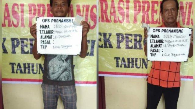 Dua Preman Tua Ini Diamankan Personel Sabhara Polsek Percut Sei Tuan Saat Mangkal di Simpang Bhayangkara