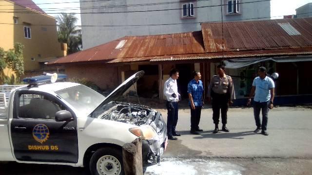 Mobil Patroli Dishub Deli Serdang Terbakar