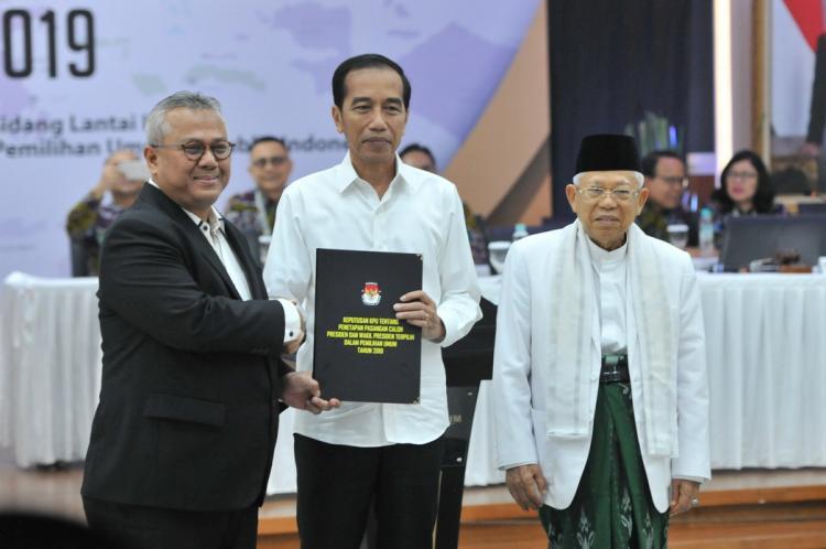 KPU Tetapkan Jokowi dan Maruf Amin Jadi Presiden dan Wakil Presiden RI