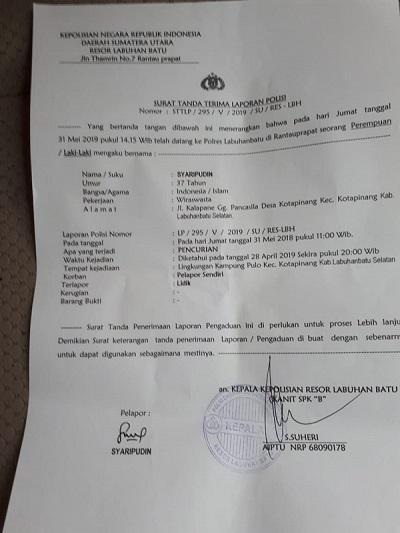 Warga Kota Pinang Keluhkan Laporan Pencurian Dokumen Berharga di Polres Labuhanbatu