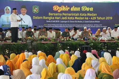 HUT Kota Medan ke-429, Ribuan Warga Hadiri Dzikir dan Doa Bersama