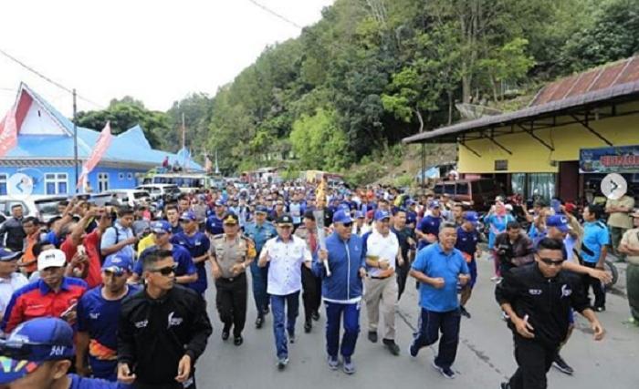 Kapolda Sumut Kawal Torch Relay Asian Games 2018 di Kabupaten Simalungun
