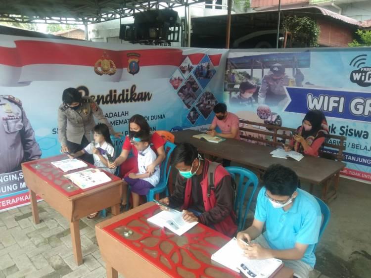 Polsek Tanjung Morawa Buat Pondok Belajar Online/Daring Bantu Pelajar