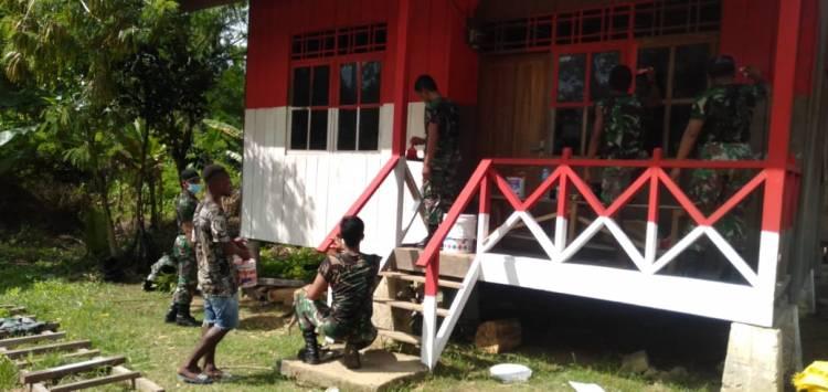 Rumah Merah Putih Kampung Mosso Karya Satgas Pamtas RI-PNG Yonif 413 Kostrad