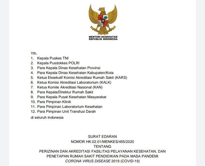 Menkes Terbitkan SE Perizinan dan Akreditasi Fasilitas Pelayanan Kesehatan