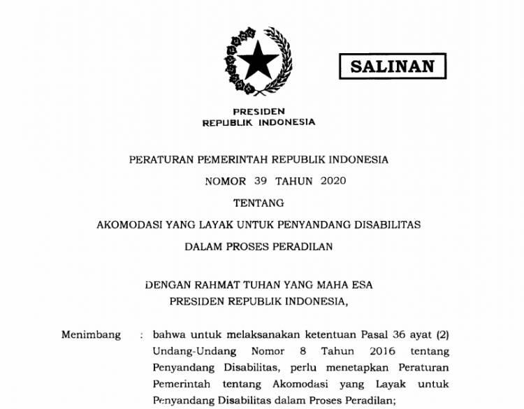 Presiden Teken PP Akomodasi Layak untuk Penyandang Disabilitas dalam Proses Peradilan