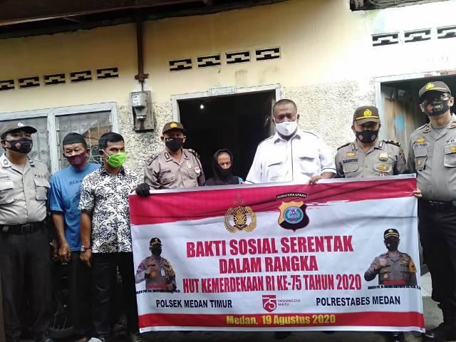 HUT RI ke-75, Polsek Medan Timur Terus Gulirkan Bantuan Sembako untuk Warga Terdampak Corona