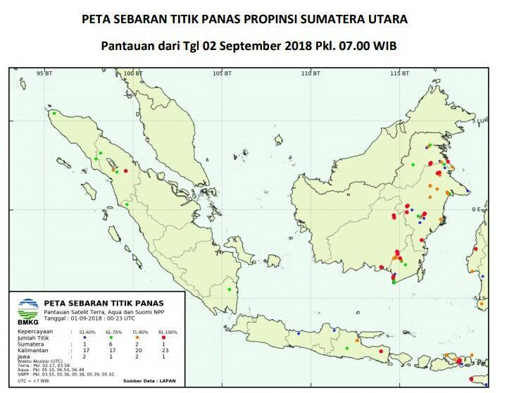 Pantauan BMKG, Ada Empat Titik Panas di Sumut