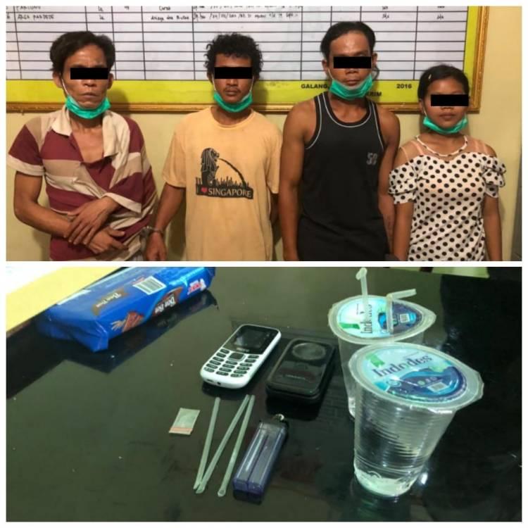 Polisi Tangkap Gadis 19 Tahun sedang Asyik Nyabu dengan 3 Pria di Desa Galang Suka, Deli Serdang