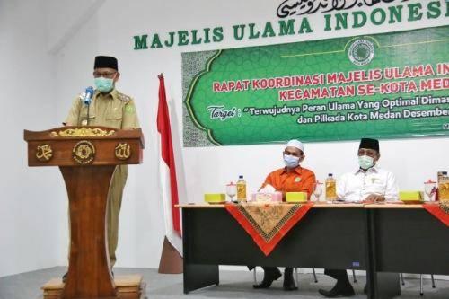 Rakor MUI Kota Medan, Akhyar Nasution Minta Ulama Tauladan Masyarakat Cegah Penyebaran Covid-19