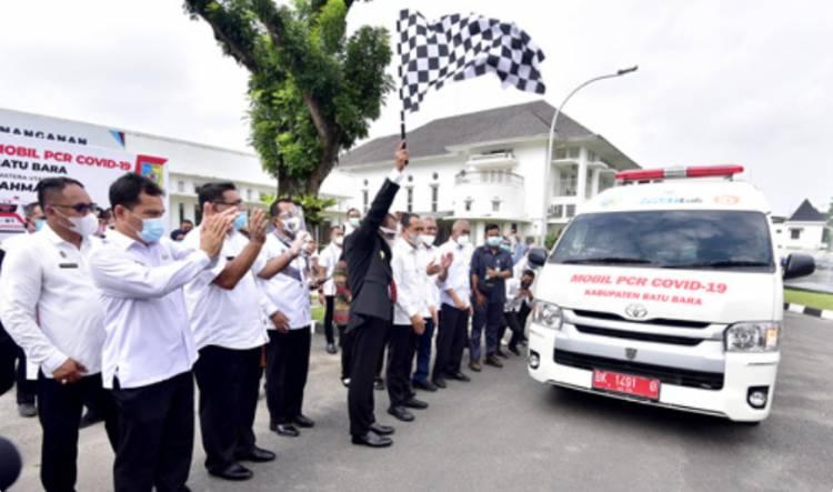 Gubernur Sumut Lepas Lab Mobil PCR Kabupaten Batubara, Edy Berharap Uji Sampel Swab Bisa Lebih Cepat
