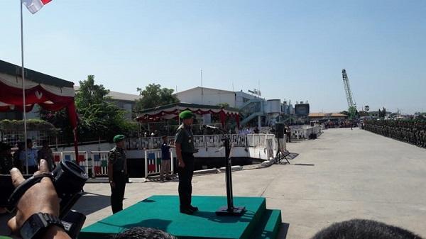 Pangdam I/Bukit Barisan Lepas Satgas OPS Pamtas Darat RI-PNG Yonif 126/KC di Pelabuhan Belawan