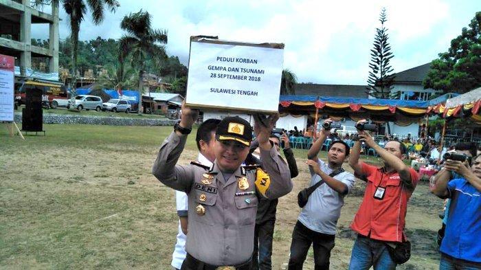 Lepaskan Balon Deklarasi Pemilu Damai, Kapolres Nias Galang Dana Gempa Donggala dan Tsunami Palu
