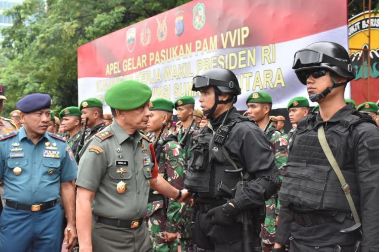 Pangdam I/BB Pimpin Apel Gelar Pasukan Operasi Pengamanan VVIP Wakil Presiden dalam Rangka Penutupan MTQN ke XXll