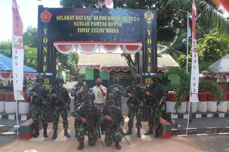 Tim Wasev Ster TNI Kunjungi Satgas Pamtas RI-PNG Yonif 125/Simbisa
