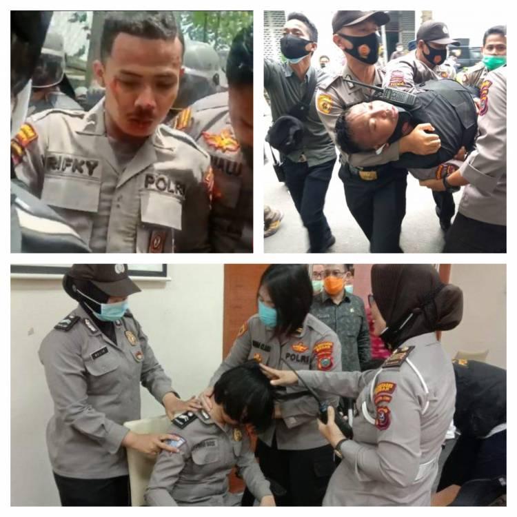 Demo Tolak Omnibus Law Berujung Ricuh, 34 Personil Polda Sumut Luka-luka
