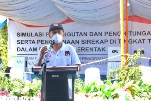 KPU Kota Medan Gelar Simulasi Pemungutan Suara, Pjs Wali Kota Pesankan Setiap TPS Wajib Terapkan Prokes