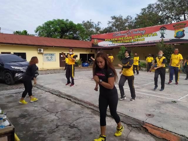 Polsek Medan Helvetia Gelar Olahraga Senam Aerobik Bersama