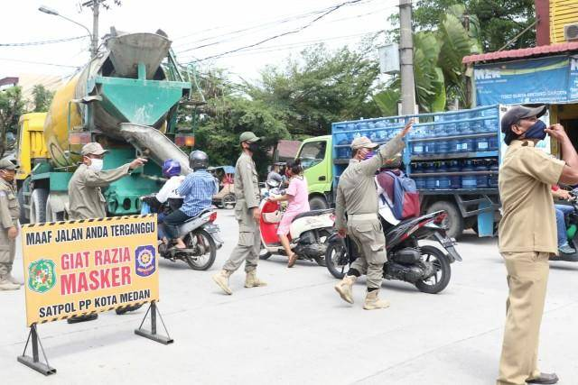 Razia Masker, Satgas Percepatan Penanganan Covid-19 Kota Medan Gelar Tangkap 59 Warga di Jalan Gaperta Helvetia