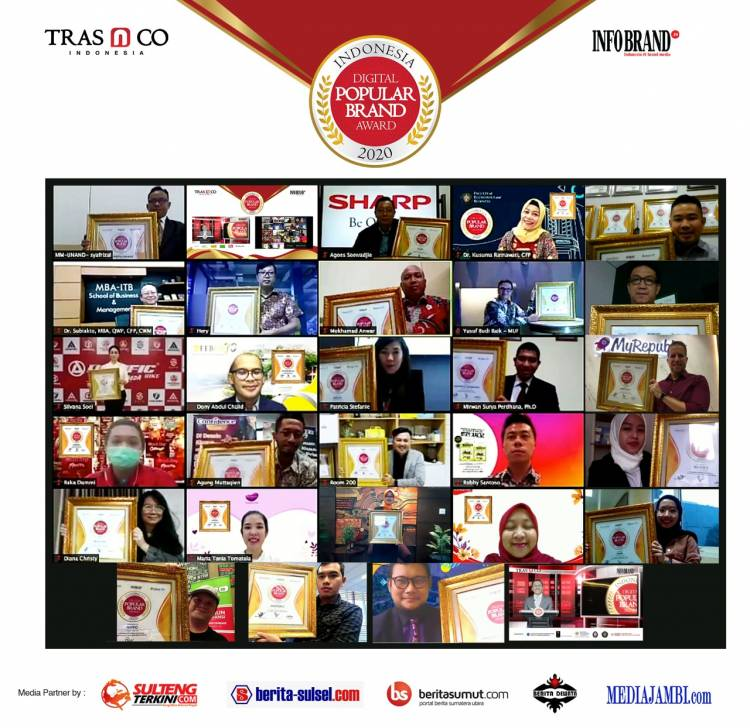 Brand-Brand Ternama Raih Penghargaan Indonesia Digital Popular Brand Award 2020