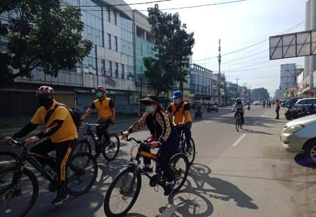 Polsek Medan Area Olahraga Bersepeda, Tingkatkan Imunitas Selama Pandemi Covid-19