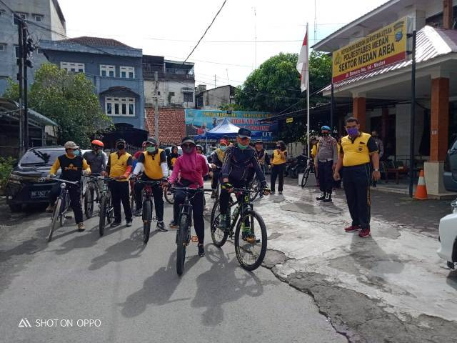 Sabtu Gowes Polsek Medan Area, Jaga Stamina Lawan Covid-19 dengan Olahraga Bersepeda