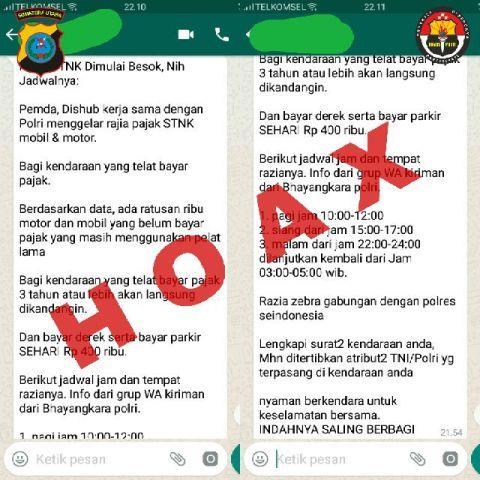 Sosmed Heboh Info Razia STNK, Ternyata Hoax