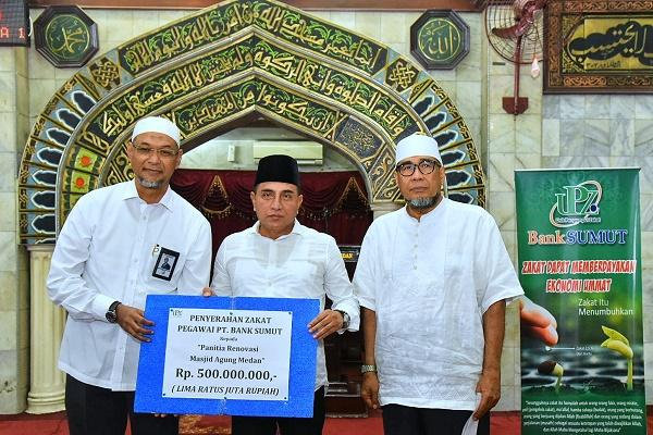 Bank Sumut Salurkan Zakat Rp 500 Juta untuk Pembangunan Masjid Agung