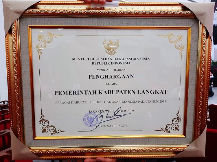 Wujudkan Kabupaten Heterogen dan Multietnik, Langkat Kembali Raih Piagam Peduli HAM
