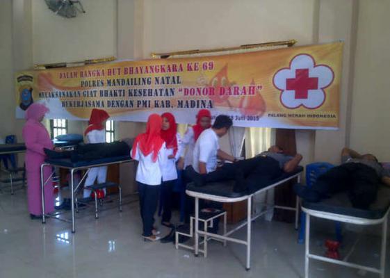 Peringati HUT ke-69 Bhayangkara, Polres Madina Gelar Donor Darah
