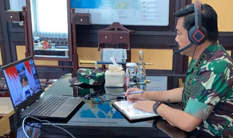 Panglima TNI Rapat dengan Presiden RI via Video Conference